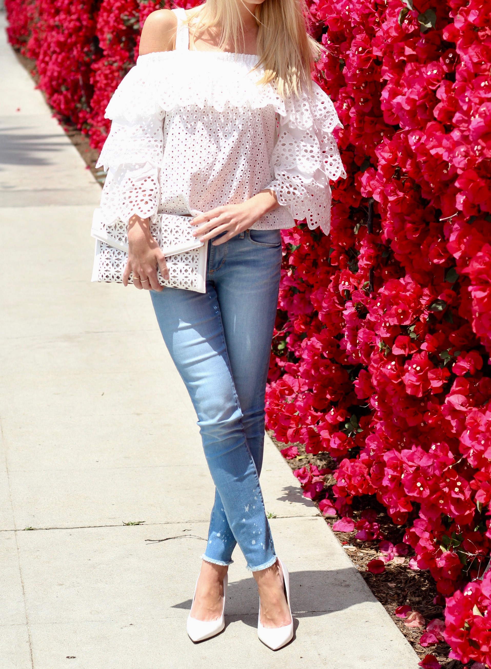 White Eyelet Top from Endless Rose & Articles of Society Jeans