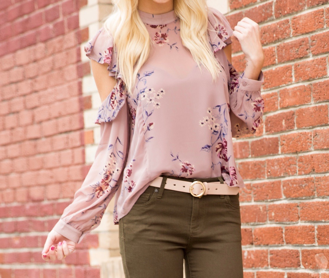 Astr Floral Blouse and Olive Jeans