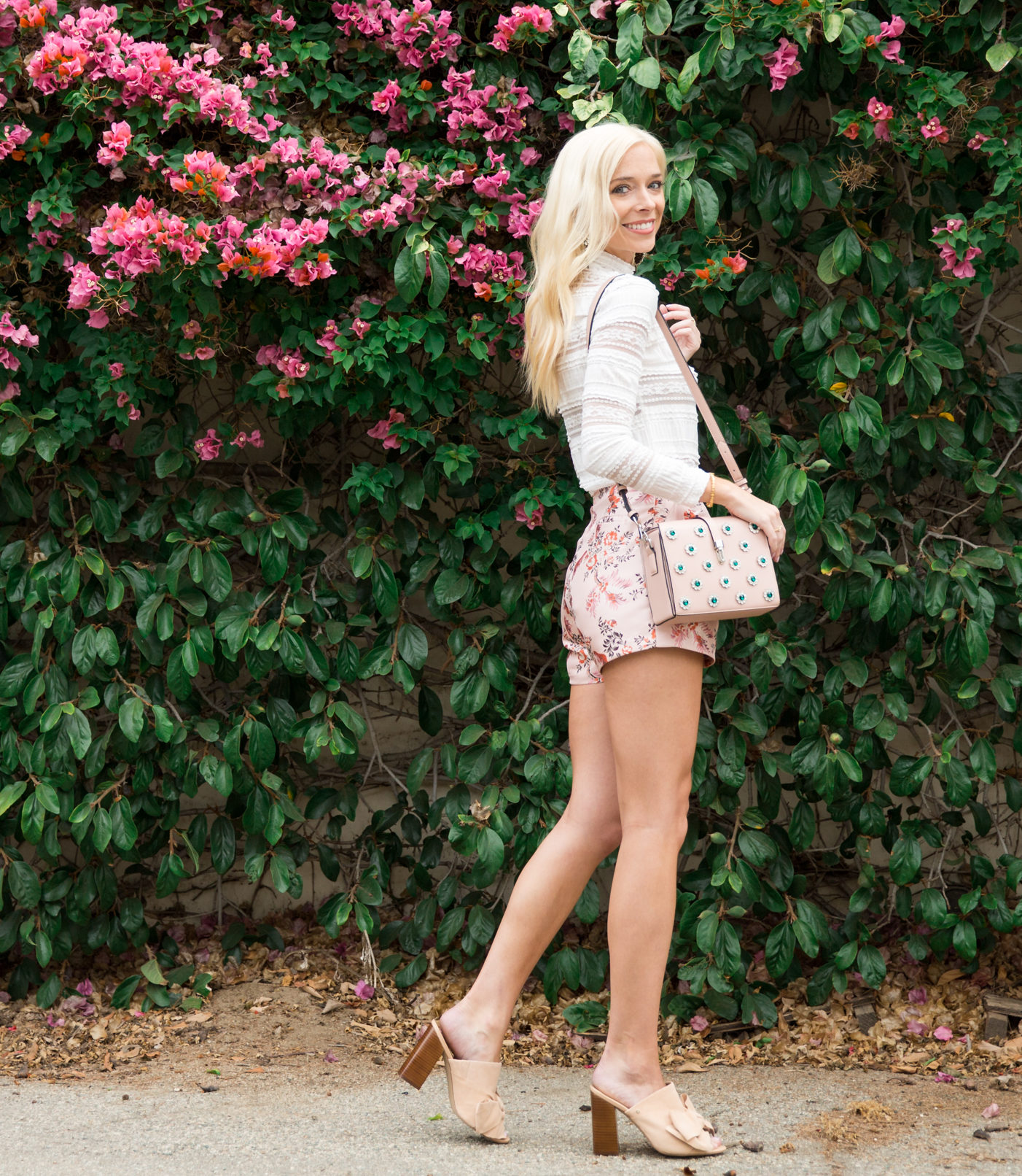 Pleated, Floral Shorts & Lace Top