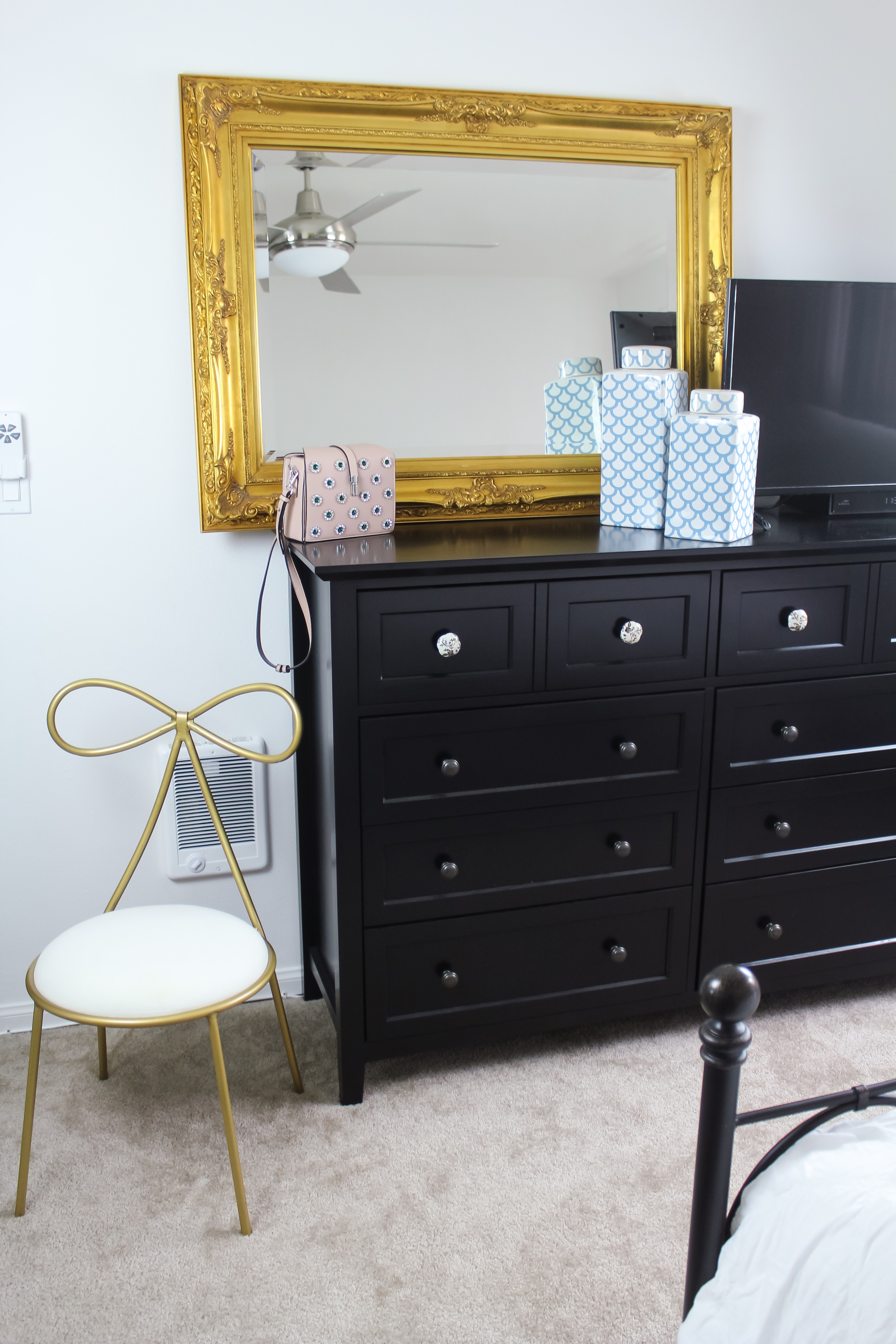 Accents of Gold, Turquoise, Rose and Decorative Knobs | Bedroom Oasis