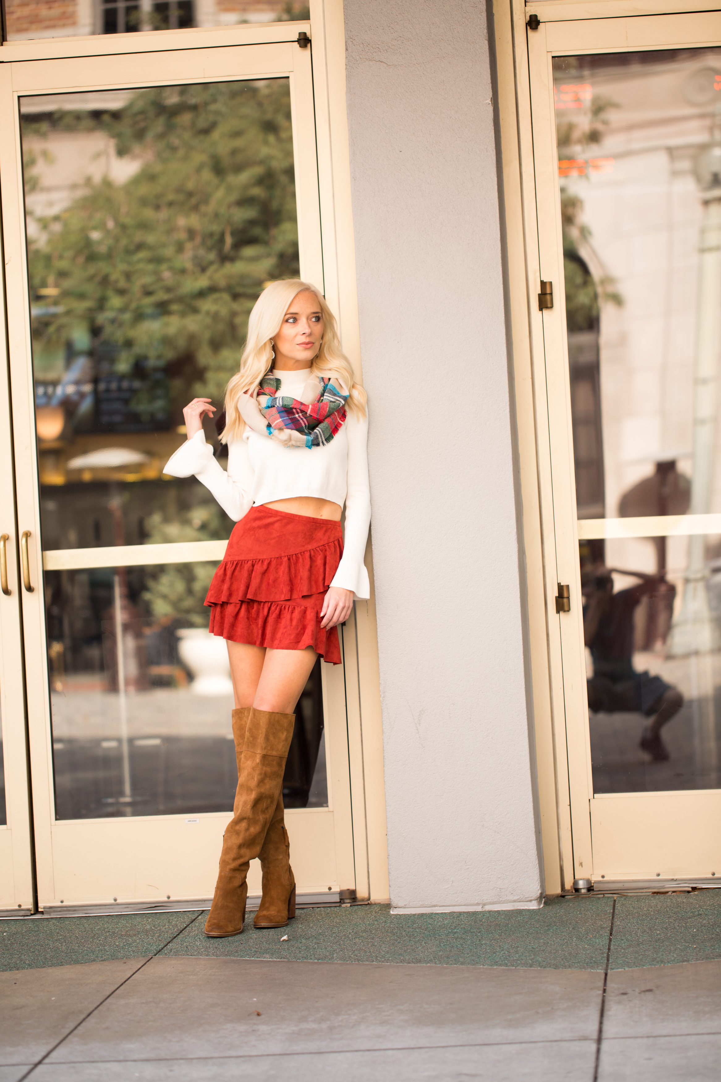 My Favorite Fall Look | OTK Boots, Ruffle Mini-skirts and Scarves